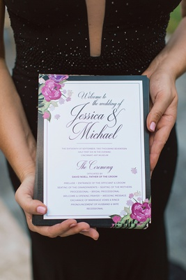 classic white invitation with black border and floral accent