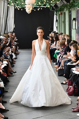 4e35cda3d90ec Nouvelle Amsale spring 2019 bridal collection wedding dress Melia halter  ball gown a line waist band.
