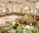Ballroom wedding reception ivory cream mirror table rose gold chairs green centerpieces