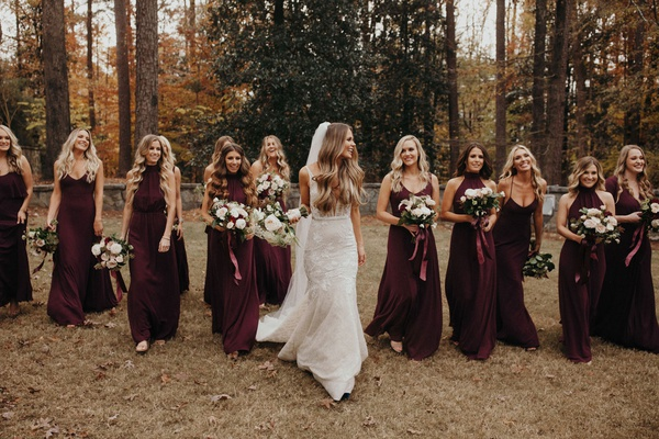 Suzanna Villarreal and Alex Wood LA Dodgers wedding bridesmaids in wine dresses with bouquets