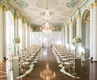 Wedding ceremony at the Biltmore Ballrooms in Atlanta flower petals along aisle