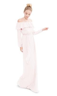 Off the shoulder long sleeve gown with a spaghetti strap halter and optional tie at waist.