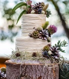 carrot cake with cream cheese frosting on a tree trunk slab, decorated with wildflowers, pinecones