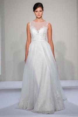 Dennis Basso 2016 sleeveless A-line wedding dress with illusion neckline