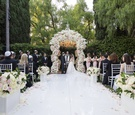 wedding ceremony the beverly hills hotel neutral color palette blush and ivory white aisle runner
