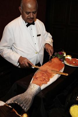 Wedding reception food fresh cut salmon station