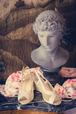 france wedding slingback shoes criss cross toe design sparkling scarf bust