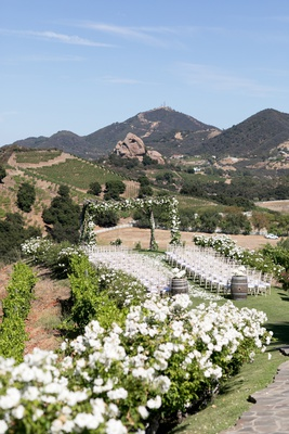 saddlerock ranch wedding, outdoor ceremony, white flowers, santa monica mountain view wedding