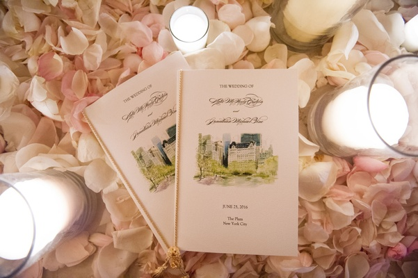Wedding ceremony program with watercolor design of New York City