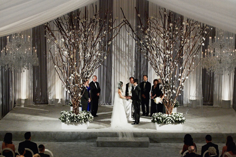 All White Indoor Wedding Ceremony Site: Ceremony Décor Photos