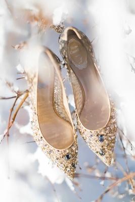 renee caovilla bridal heels, pointed toe, gold, crystal