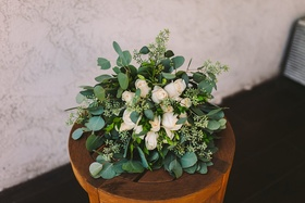 bridal bouquet with white roses and heavy greenery, eucalyptus leaves