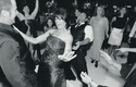 Black and white photo of guests on dance floor