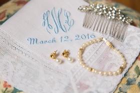 bracelet pearl earrings hairpiece crystals monogram napkins elegant pieces dayton ohio wedding bride