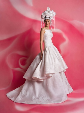 Isabelle Armstrong Spring 2019 collection mikado pique ball gown with tiered skirt