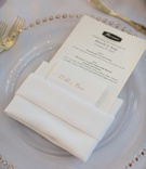 simple wedding menu with gold calligraphy escort card island ingredients for delicious fare Merriman
