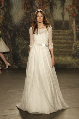 """""""gertrude"""" dress with sheer elbow length sleeves and belted waist by Jenny Packham"""