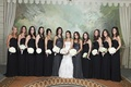 Maid of honor in grey and black bridesmaid dresses