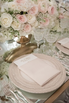 Wedding reception mirror table top pink white rose centerpiece baby's breath gold vase charger plate