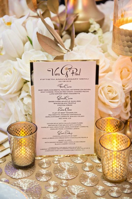 wedding anniversary party fifty menu first course three courses plus dessert gold candles