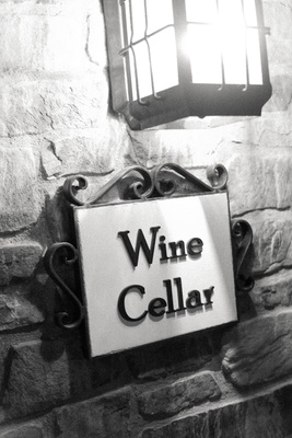 Malibu wine cellar signage in black and white