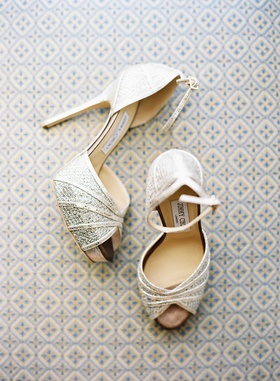 Jimmy Choo peep toe wedding shoes with ankle strap in metallic shimmer fabric