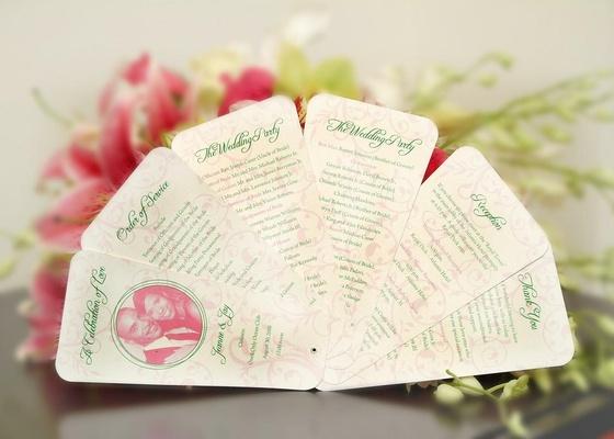 Ceremony booklets shaped like fan