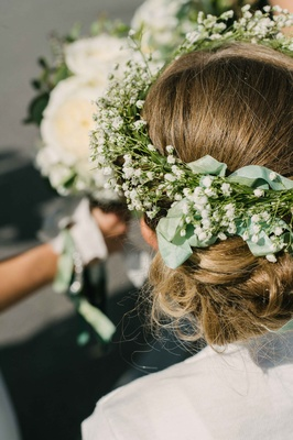 flower girl crown of foliage flower crown baby's breath ribbon greenery hair style rustic boho chic