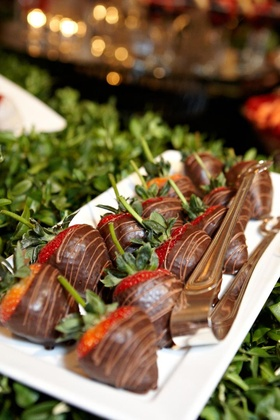 Wedding reception long stem strawberries with chocolate