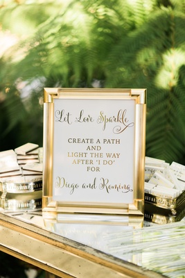 Gold frame with let love sparkle sign for ceremony sparkler exit with matches