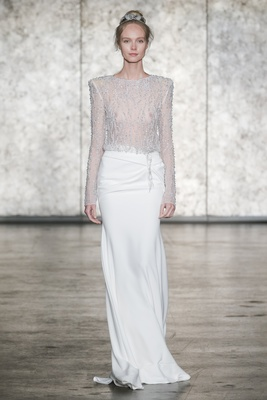Inbal Dror Fall 2018 Fully beaded long sleeve jewel neck top with side drape back slit skirt