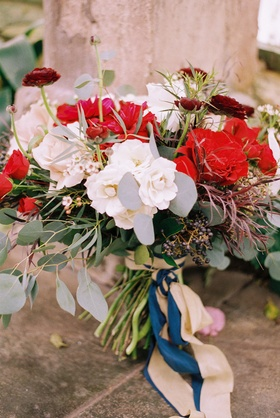 beauty beast movie styled wedding shoot red white green bouquet ribbons utah fairy tale inspiration