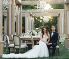 Jillian Murray and Dean Geyer wedding actors tuxedo berta dress outdoor wedding wood greenery