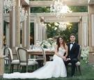 Jillian Murray and Dean Geyer wedding actors tuxedo berta dress outdoor wedding wood greenery