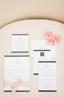 invitation suite with grey border and pink lettering