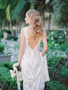 """Bride in """"Carla"""" from JINZA Couture Bridal 2016 Collection, Vibiana courtyard"""