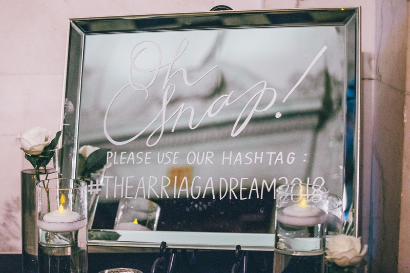 wedding signage mirror with calligraphy oh snap please use our hashtag floating candles white rose