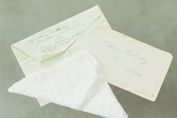 Lace hankie and note from grandmother of the bride