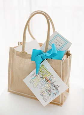 Burlap tote with custom map and blue ribbon