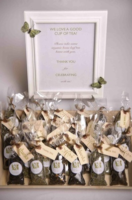 Herbal Infusions tea in bags as wedding favors with thanks tags