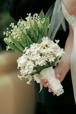Stephanotis And Lily Of The Valley Wrapped In Ribbon