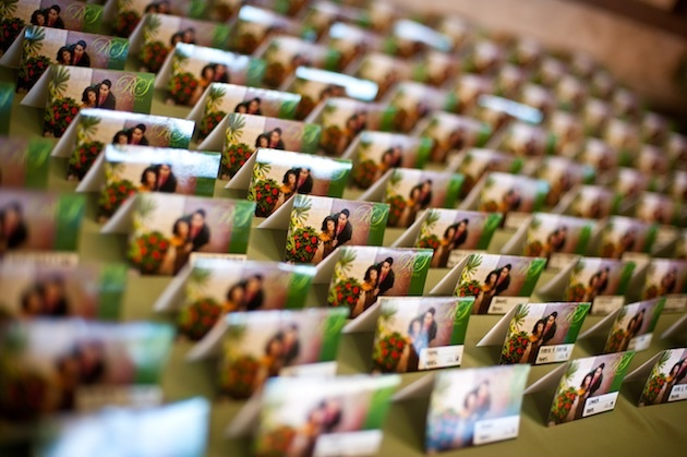 Seating cards with picture of couple and monogram