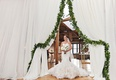 bride entrance into wedding ceremony garland mermaid gown white bouquet