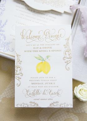 italian tuscany destination wedding, welcome dinner invitation, lemon detail