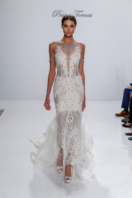 Pnina Tornai for Kleinfeld 2017 Dimensions Collection sheer wedding dress beading crystal lace neck