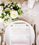 wedding reception menu card custom calligraphy personalized in linen napkin