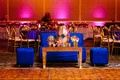 sangeet reception party, bright blue furniture for couple to watch performances