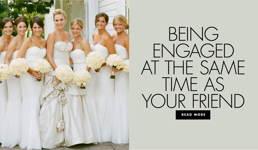 bridesmaids in strapless white dresses carrying round ivory rose bouquets