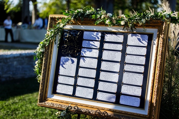 seating chart in gold frame gold calligraphy find your seat bulletin board garland of greenery