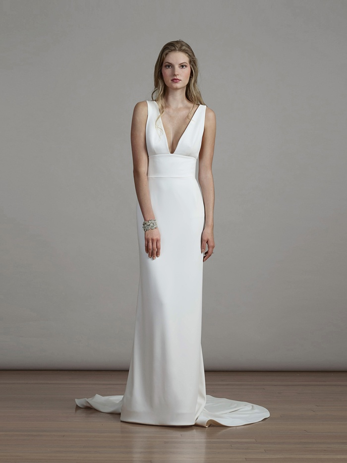 Wedding dresses photos crepe sheath dress with plunging for Wedding dresses for small breasts